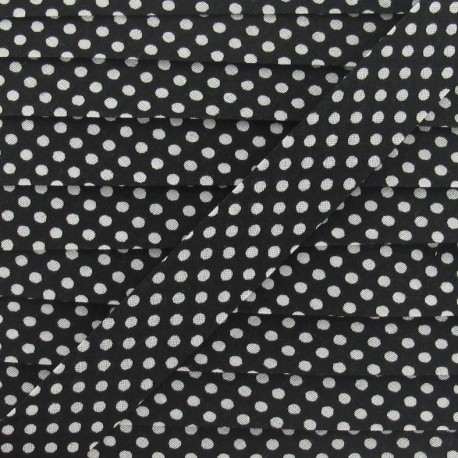 Cotton Bias binding,with white polka dots - black