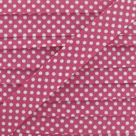 Cotton Bias binding,with white polka dots - fuchsia
