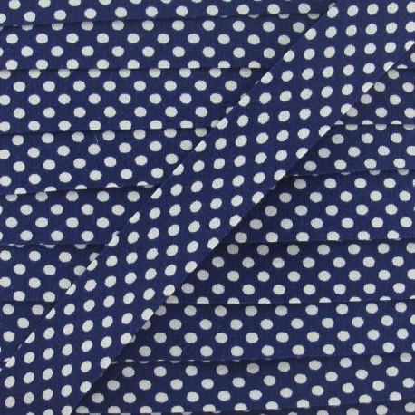 Cotton Bias binding,with white polka dots - navy
