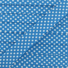 Cotton Bias binding,with white polka dots - turquoise