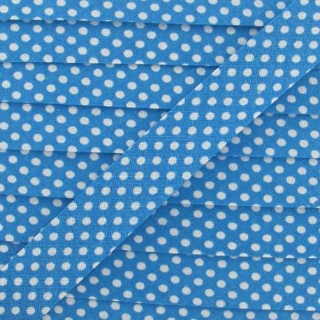 Biais coton à pois blanc/turquoise