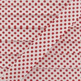 Biais coton à pois rouge/blanc
