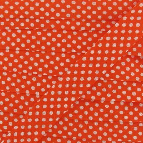 Cotton Bias binding,with white polka dots - orange