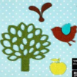 4 Felt-fabric Nature iron-on appliques, Apple - multicolored