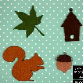 4 Felt-fabric Nature iron-on appliques, Squirrel - multicolored