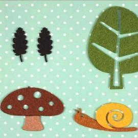 4 Felt-fabric Nature iron-on appliques, Snail - multicolored