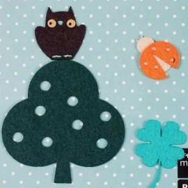 4 Felt-fabric Nature iron-on appliques, Ladybird - multicolored