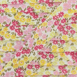 Bias binding, Flowered, daisies - yellow