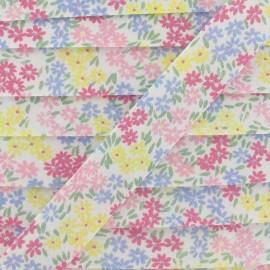 Biais fleuri paquerettes bleues