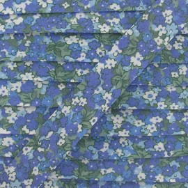Bias binding Flowered, pansies - blue