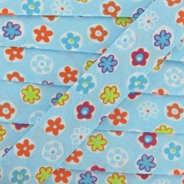 Bias binding, Fantasy, Flowered - light blue