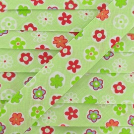 Bias binding, Fantasy, Flowered - lime
