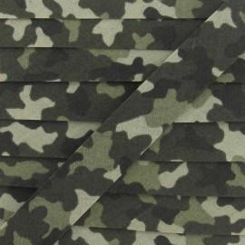 Biais fantaisie camouflage kaki