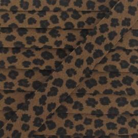 Bias Binding, leopard - chocolate