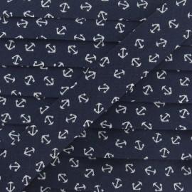 Bias Binding, white anchor - navy blue