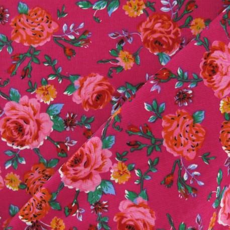Fabric velours milleraies Roses fuchsia x 10cm