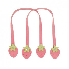 ♥ Synthetic leather bag-handles, strawberries - pink/green ♥