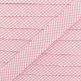 Bias binding, small gingham 20 mm - pink