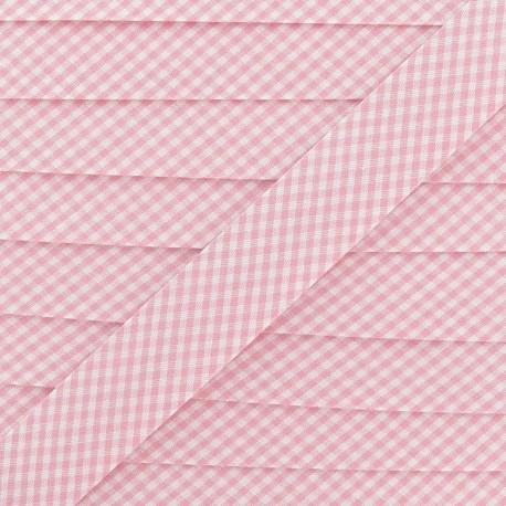 Bias binding, small gingham 20 mm - pink