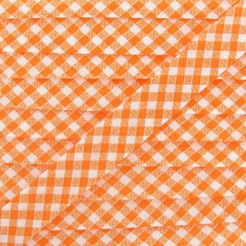 Bias binding, Gingham 18 mm - orange