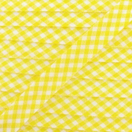 Bias binding, Gingham 18 mm - yellow