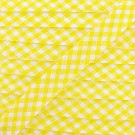 Bias binding, Gingham 18 mm - yellow