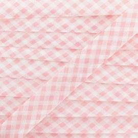 Bias binding, Gingham 18 mm - pink