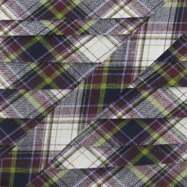 Biais Écossais marine/violet/anis 20 mm
