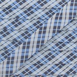 Biais satiné Vichy bleu 20 mm