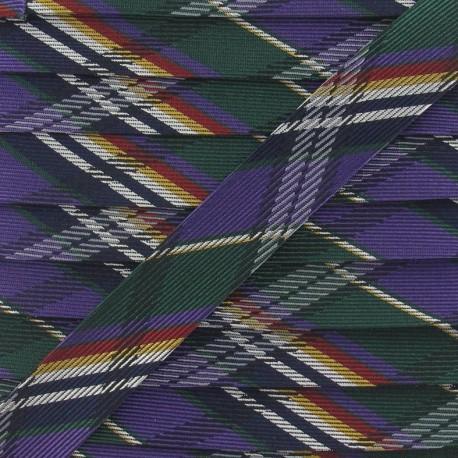 Satiny bias binding, checkered, 20 mm - multicolored