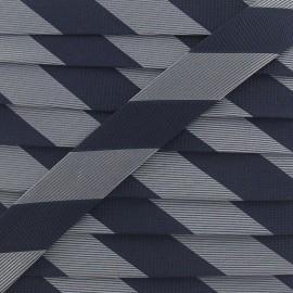 Satiny bias binding, stripes C - navy/grey