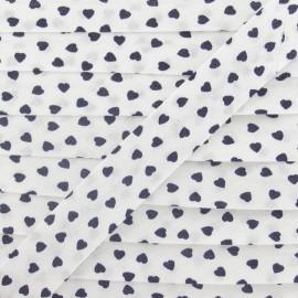 Cotton Bias Binding, navy hearts - white