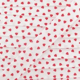 Cotton Bias Binding, red hearts - white