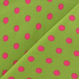 Tissu jersey à pois 8 mm fuchsia fond anis x 10cm