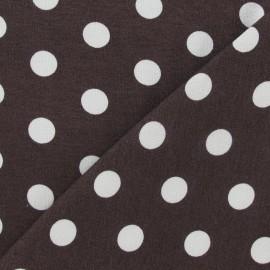 Tissu jersey à pois 15 mm blancs fond marron x 10cm