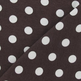 Fabric with white dots 15 mm - brown x 10cm
