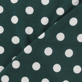 Tissu jersey à pois 15 mm blancs fond vert pin x 10cm