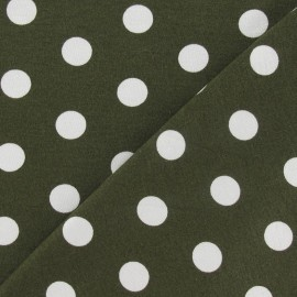 Fabric with white dots 15 mm - khaki x 10cm