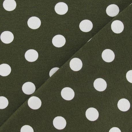 Tissu jersey à pois 15 mm blancs fond vert kaki x 10cm