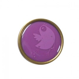 Printed Resin button, birds - purple