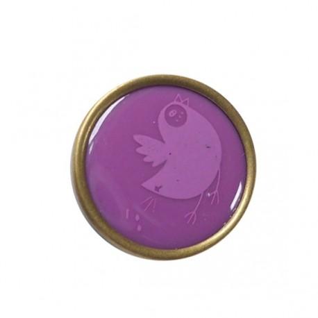 Printed Resin button, birds - purple