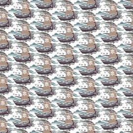 ♥ Coupon tissu 35 cm X 136 cm ♥ Tissu Liberty Samols taupe A