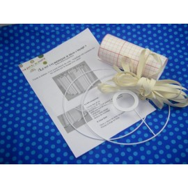 Cylinder-shaped lampshade kit of 20 cm (lacing version) - white