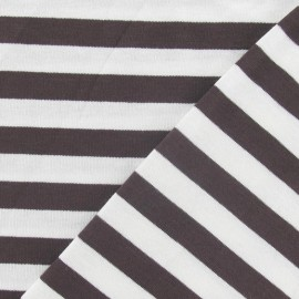 Stripes jersey fabric 10 mm - brown x 10cm