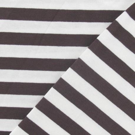 Tissu jersey rayures 10 mm marron x 10cm
