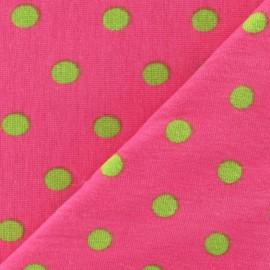 Tissu jersey à pois 8 mm anis fond fuchsia x 10cm