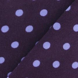 Tissu jersey à pois 8 mm parme fond violet x 10cm