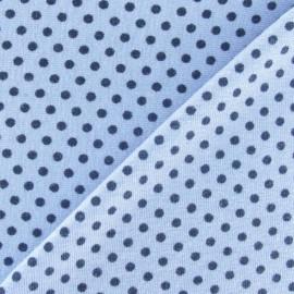 Tissu jersey à pois 2 mm marine fond ciel x 10cm