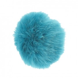 Round-shaped faux fur pompom - petrol blue