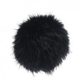 Pompon rond fausse fourrure noir